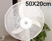 DSstyles 50 x 20cm Safety Fan Cover for Baby Kids Summer Dustproof Fan Mesh Net - White