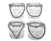 Kaemingk Glass Tealight With Bow Shells 9 x 10