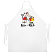 Attitude Aprons Fully Adjustable Kiss the Cook Cartoon Apron-Natural
