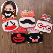 PhilMat Cute Funny Moustache Red Nose Plush Mouth Breathing Mask Cold Dust Clean Windproof Winter Warm Cotton Clown