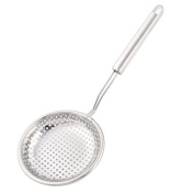 DealMux Stainless Steel Kitchen Cooking Tool Potato Chips Perforated Ladle Silver Tone