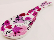 Hearts & Flowers Spoon Rest Ceramic Porcelain Large Spoon Rest Hand Decorated in the UK