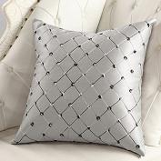 Zantec Home Sofa Bed Decor Multicolor Plaids Throw Pillow Case Square Cushion Cover Silver Grey
