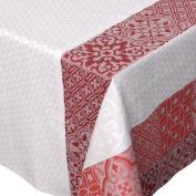 Rectangular Tablecloth 150 x 200 cm 100% Cotton Jacquard Acrylic Coating Mosaic Ruby Red