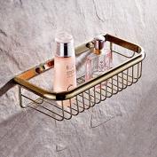 Basket golden rectangle storage basket Cu drawing shower bathroom single rack