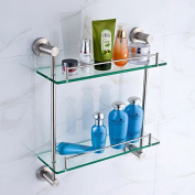 304 stainless steel drawing Pendant bathroom two story glass stand bathroom shelf