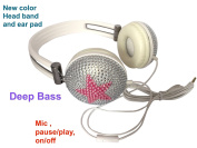 blingustyle Iridescent crystal stars design fashion Ear-Cup with MIC/colour headband ear pad DJ headphone ,same colour band, ear-pads, wire. mic , on/off (pause/play), deep bass founctions . W-P