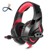 ONIKUMA K1 Noise Cancelling Gaming Headphones 3.5mm + USB Wired Headphone with Microphone for Computer PS4 PSP Phone - Black & Red