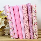 7Pcs 25x25cm Cotton Fabric Flower Polka Dot Bundle DIY Patchwork Quilt Cloth