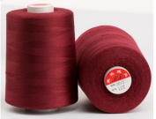 6000 Yards Burgundy Reel 20s 2 202 Tex 60 Tickets Size 50 Spools Polyester PP SP Sewing Thread Hand Machine industrial Embroidery Yarn Quilting Serger Clothes Jeans Canvas Oxford Cloth Leather