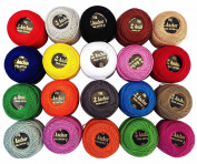 20 Multicolor Anchor Pearl Cotton Balls / Size 8 (85 Metres each) / 20 Coloured Crochet Cotton Thread-10gm Per Ball- Knitting, Lacey Craft- 85 Metres