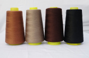 4 x 3000 Yards Light Coffee Camel Dark Coffee Black Reel 40s 2 402 Tex 27 Tickets Size 120 Spools Polyester PP SP Sewing Thread Hand Machine industrial Embroidery Yarn Quilting Serger Clothes