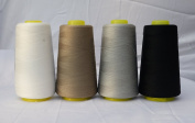 4 x 3000 Yards Off White Camel Dark Grey Grey Black Reel 40s 2 402 Tex 27 Tickets Size 120 Spools Polyester PP SP Sewing Thread Hand Machine industrial Embroidery Yarn Quilting Serger Clothes