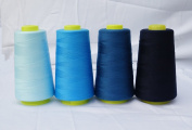 4 x 3000 Yards Light Blue Peacock Blue Cyan Navy Reel 40s 2 402 Tex 27 Tickets Size 120 Spools Polyester PP SP Sewing Thread Hand Machine industrial Embroidery Yarn Quilting Serger Clothes