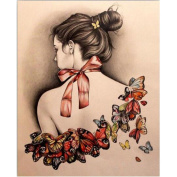 5D Diamond Painting Kit, Butterfly Girl Back DIY Rhinestone Embroidery Cross Stitch Arts Craft Wall Decors for Home 11.8*15.7 inch