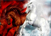 5D Diamond Painting Kit DIY Rhinestone Embroidery Cross Stitch Arts Craft For Home Wall Decors 11.8*15.7 inch (30*40 cm).White Horse Red Horse