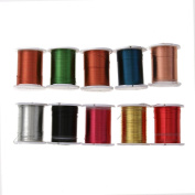Demiawaking 10 Rolls of Metallic Cross Stitch Threads Mixed Colours Embroidery Thread Machine Sewing Thread Spools
