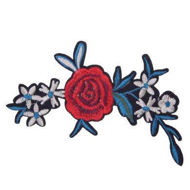 Demiawaking Flowers and Blue Leaves Embroidery Iron on Patches Sew on Patches and Badges Embroidery Applique Patches for Jeans, Jackets, Clothing, Bags