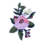 Demiawaking Pink Flower Green Leaves Embroidery Iron on Patches Sew on Patches and Badges Embroidery Applique Patches for Jeans, Jackets, Clothing, Bags