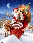 Santa Claus Diamond Painting 5D DIY Merry Christmas Full Deer Drill Craft Resin Embroidery Paste Present Gift Cross Stitch Tools Kits Diamond Mosaic Sticker Canvas Office Wall Decoration , circular diamond , 60*75 cm