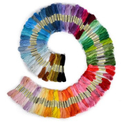 Honosu Embroidery Thread, 100% Cotton, 100 x Assorted Coloured Skeins