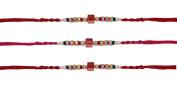 3 x Simple Metallic Multicoloured Diamante Beaded Rakhi Thread/Rakhi Bracelet/Bhaiya Series