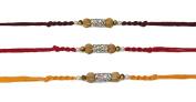3 x Beautiful Metallic Diamante and Wooden Beading Rakhi Thread/Rakhi Bracelet/Bhaiya Series