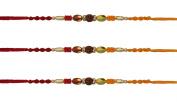 3 x Beautiful Rudrakshan Rakhi With Two-Coloured Wooden Beading Rakhi Thread/Rakhi Bracelet/Bhaiya Series