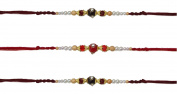 3 x Beautiful Pearl, Golden and Coloured Beaded Rakhi Thread/Rakhi Bracelet/Bhaiya Series
