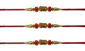 3 x Beautiful Wooden and Clear Red Beaded Rakhi Thread/Rakhi Bracelet/Bhaiya Series