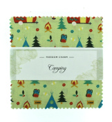 Fabric Freedom Camping Green Freedom Charm, 100% Cotton, Multicoloured, 13 x 13 x 1.5 cm