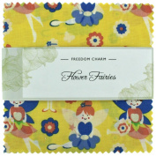Fabric Freedom Flower Fairies Yellow Freedom Charm, 100% Cotton, Multicoloured, 13 x 13 x 1.5 cm