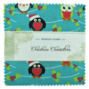 Fabric Freedom Christmas Characters Blue Freedom Charm, 100% Cotton, Multicoloured, 13 x 13 x 1.5 cm