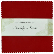 Fabric Freedom Strawberry and Cream Freedom Charm, 100% Cotton, Multicoloured, 13 x 13 x 1.5 cm