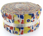 Fabric Freedom Flower Faries Yellow Jelly Baby Roll, 100% Cotton, Multicoloured, 9 x 9 x 7.01 cm