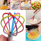 MML New Colourful Rainbow Silicone Whisk Splash,Kitchen Premium Silicone Whisk With Heat Resistant Non-Stick Silicone Whisk Cook