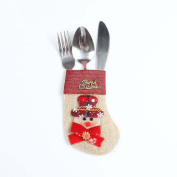 Souarts Kitchen Cutlery Suit Holders Pockets Forks Bag Snowman Shaped Christmas Decoration