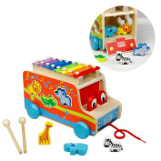 Xylophone Piano, Shape Sorter, Pull Along Car, Wooden Animals Christmas Birthday Gifts for Kids 3 4 5 6 Year Olds
