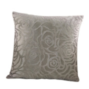 Haodou Rose Flower Cushion Cover for Sofa/Car Short plush Pillowcases Square Pillow Cover Decorative-Grey