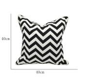 Haodou Cushion Cover Cotton Linen Pillowcases Pillow Cover Decorative for Sofa/Car Black+White 1pcs-S
