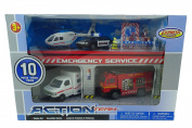 10 Piece Emergency Service Toy Vehicle Playset