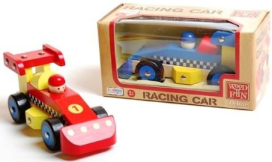 Assorted Colour Wooden Racing Car Vehicle Kids Toy Play Xmas Garage Boys Strong Formula Gift