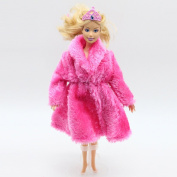 Qiyun Doll's Coat Mini Plush Coat for Barbie Dolls Toy Accessories Clothing Series Fashion Girls Toys (Doll is not Included)style:rose Red