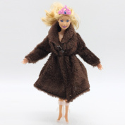 Qiyun Doll's Coat Mini Plush Coat for Barbie Dolls Toy Accessories Clothing Series Fashion Girls Toys (Doll is not Included)style:brown