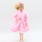 Qiyun Doll's Coat Mini Plush Coat for Barbie Dolls Toy Accessories Clothing Series Fashion Girls Toys (Doll is not Included)style:pink
