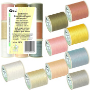 9 Types of Spools 200 m High-Quality – Sewing Thread ´Upper Thread´ Assorted Pastel Colours, NE 50/3, 100% Cotton for Sewing Machine, 2976