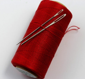 CHENGYIDA RED S049 STRONG WAXED HAND SEWING THREAD FOR LEATHER/CANVAS & 2 LARGE EYE NEEDLES