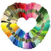 Cheap4uk Stranded Deal Embroidery Thread, 100% Cotton, 150 pcs Assorted Coloured Skeins