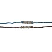 Set of Two Rakhi, Ring & Moti, Thread. Rakhi, Raksha Bandhan Gift for your Brother, Orange and Green Thread,Colour Vary and Multi Design