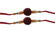 Set of Two Rudraksha Rakhi Thread. Raksha bandhan Gift for your Brother,Colour Vary and Multi Design